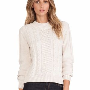 Joie Greer Wool Pullover Sweater Heather Parchment