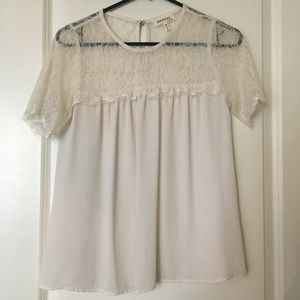 Lace and silk creamy white flowy top size S