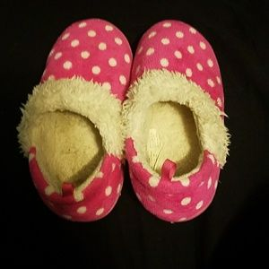 Other - Pink fuzzy polka dot slippers