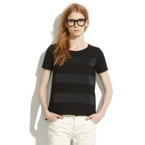 Madewell black satin stripe tee