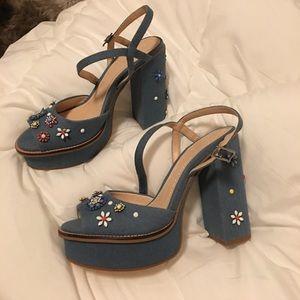 Zara denim floral chunky heels