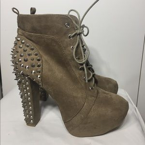 Charlotte Russe Spiked Lace-Up Bootie