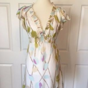 BCBG 100% Silk Floral Dress Flutter Sleeve Size S
