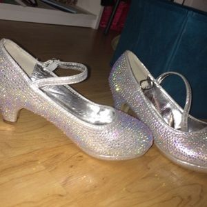 Other - silver kids sparkle heels size 3