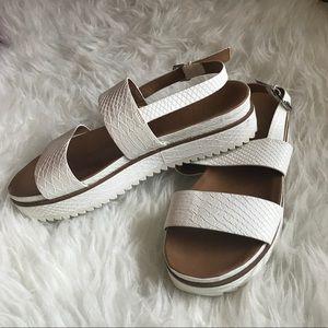 Zara Trafaluc White Platform Sandals