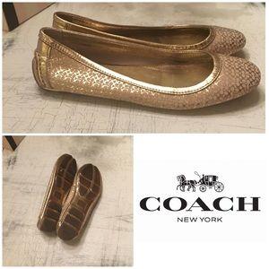 Coach Gold Logo Flats Size 8 1/2 Like-New