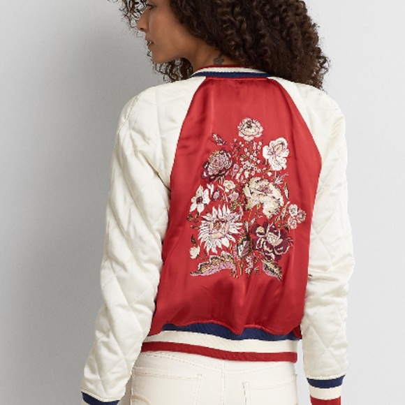 d88f06a842 AEO Embroidered Satin Bomber Jacket Quilted Sleeve NWT