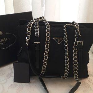 🆕 Prada Milano Logo Chain Shoulder Bag
