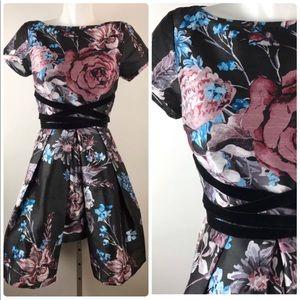 eShakti Floral Dres Velvet Tie Inset Dupioni