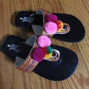 Other - Girls ethnic Embroidered Handmade flip flops