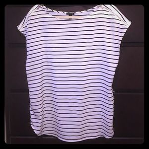 Striped Ann Taylor top with zip shoulders
