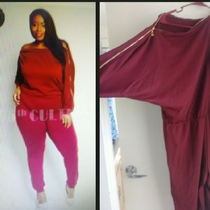 Burgundy and Gold jumpsuit