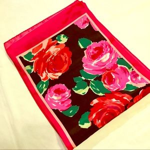 Long Floral Pink & Red Rose Scarf or Head Wrap