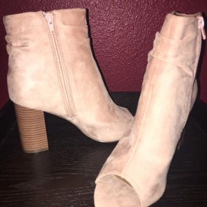 3 inch open toe ankle booties