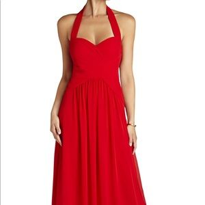 BCBG Selene Halter Neck Red Full Length Gown