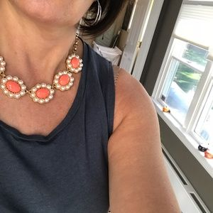Women's pearl and coral statement necklace