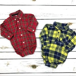 Boys Two Plaid Long Sleeve Onesies - 3 months
