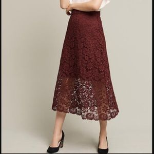 Anthropologie Floral Lace Oxblood Midi Skirt