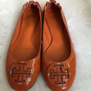 Tory Burch Orange Ballet Flats (Size 8)