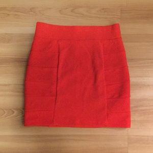 H&M red/orange stretch high waisted skirt Sz 6