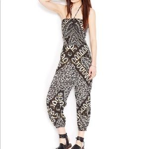 NWT Free People Printed Jumpsuit, XS Ivory Combo