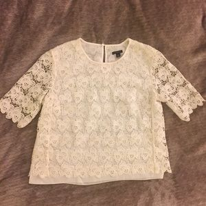 White Lace Top quarter sleeve