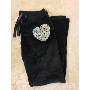 VS PINK velour sweatpants size SMALL black
