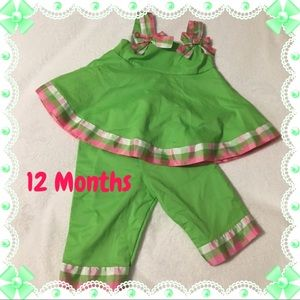 Green and Pink Bow Matching Set