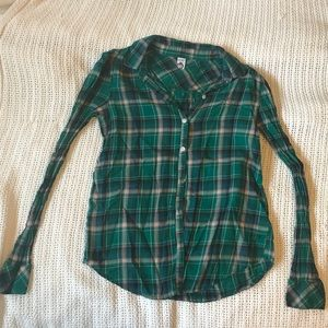 Green Plaid Flannel Button Up