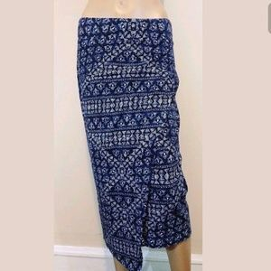 DKNY Blue Ethnic Tribal Print Wrap Midi Skirt S