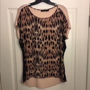 Blush pink and black leopard style blouse