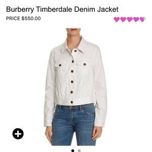 Bnwt Burberry white denim jacket size 6