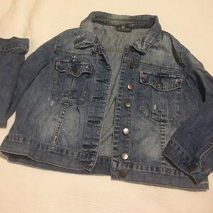 Topshop distressed blue jean jacket