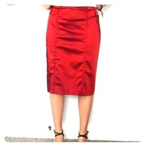 Red Shiny Pencil Skirt with Back Slit