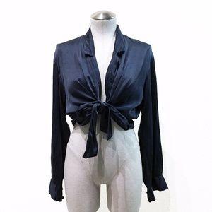 Vintage Black Silk Tie Front Blouse