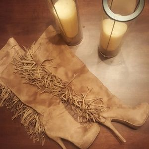 Tall fringed taupe boots