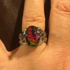 Jewelry - 925 Sterling Silver Ring With Fire Mystic Topaz