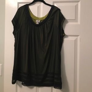 NWOT! Green satiny shirt with black mesh overlay