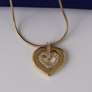 Swarovski 18K Gold Plated Double Heart Necklace