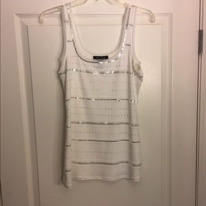 WHBM white tank with silver sequins