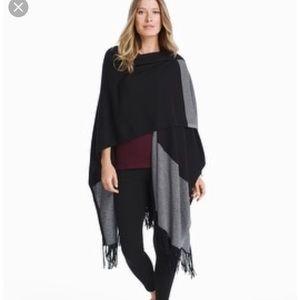 NWT WHBM colorblock ruana shawl warp