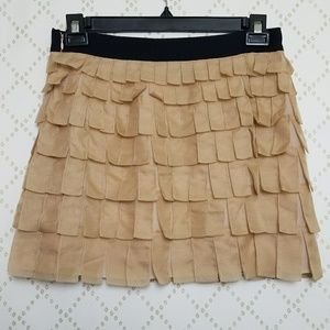 J. CREW Collection Silk Tiered Fringe Mini Skirt