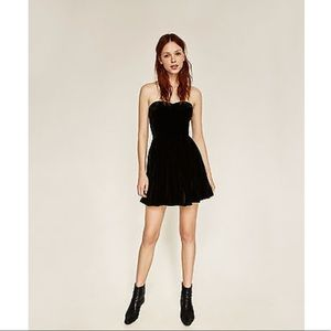 Zara Velvet Sweetheart Neck Black Mini Dress