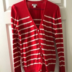 Red and white stripes Cardigan