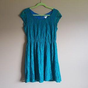 XHILARATION • GREEN LACE DRESS