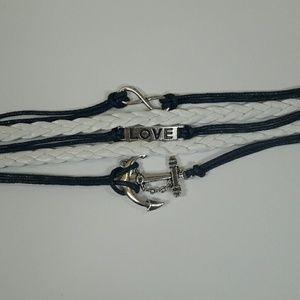 Jewelry - Layered Navy & White Charm Bracelet