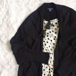 AEO black 3/4 sleeve open front knit cardigan