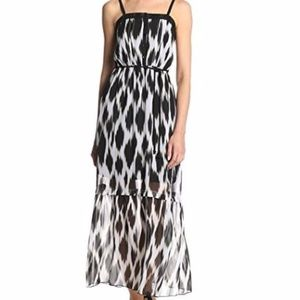 NWT Kensie Black & White Printed Maxi Dress Sz M