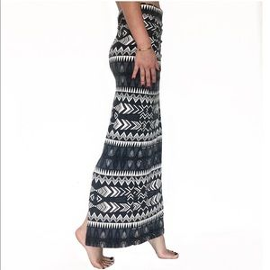 Pencil Skirt Back Slit Tribal Print Stretch Waist