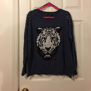 Blue Tiger Studded Shoulder Sweater